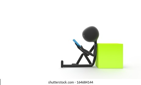 Stick Person Sitting and Looking at a Tablet Against a White Background