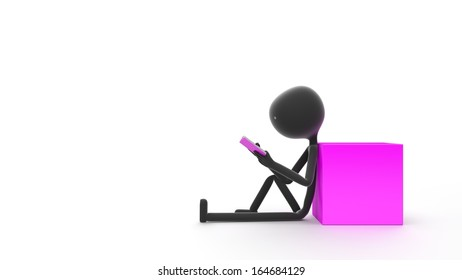 Stick Person Sitting and Reading a Book Against a White Background