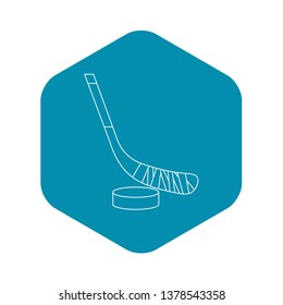 Stick and puck icon. Outline illustration of stick and puck icon for web