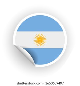 Sticker of Argentina flag with peel off corner isolated on white background. Paper banner or circle curl label sticker with flip edge. color post note for advertising design