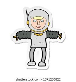 sticker of a cartoon astronaught