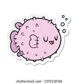 sticker of a cartoon blowfish