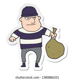 sticker of a cartoon burglar with loot bag
