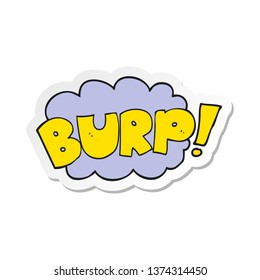 sticker of a cartoon burp text