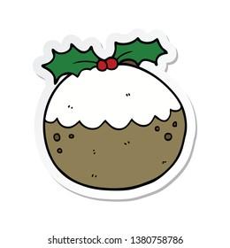 sticker of a cartoon christmas pudding