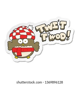 sticker of a cartoon cute owl singing twit twoo