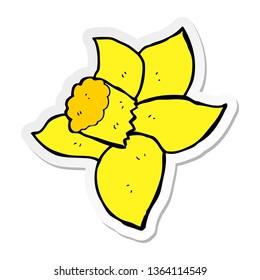 sticker of a cartoon daffodil