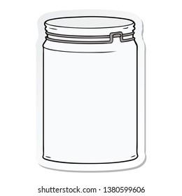 sticker of a cartoon empty glass jar