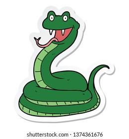 sticker of a cartoon happy snake
