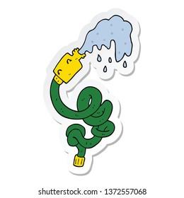 sticker of a cartoon hosepipe