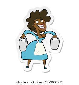sticker of a cartoon milkmaid carrying buckets