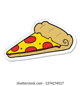 sticker of a cartoon pizza slice