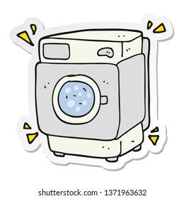 sticker of a cartoon rumbling washing machine