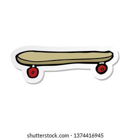 sticker of a cartoon skateboard