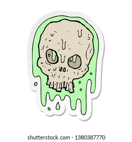 sticker of a cartoon slimy skull