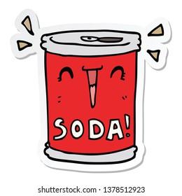 sticker of a cartoon soda can