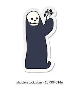 sticker of a cartoon waving halloween ghoul