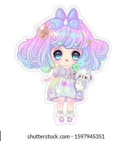 Sticker with a chibi girl and a fluffy sheep