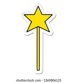 sticker of a cute cartoon star wand