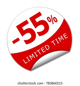 Sticker fifty five percent off for a limited time. 3D Illustation.