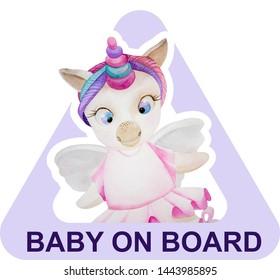 "Sticker on the car ""Baby on Board"" for children. Unicorn, ballerina"