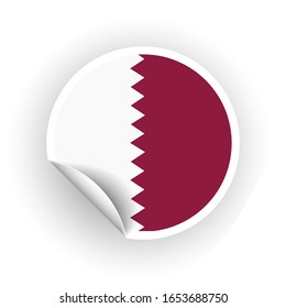 Sticker of Qatar flag with peel off corner isolated on white background. Paper banner or circle curl label sticker with flip edge. color post note for advertising design.