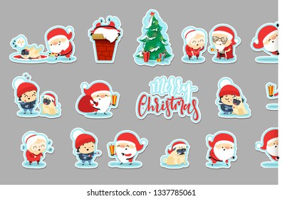 Sticker Santa Claus Funny Christmas characters in flat style. Set Santa Claus, small child, an elderly couple, grandparents, pet dog.  Cute cartoon people.