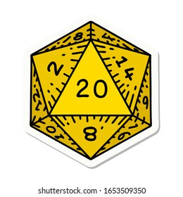 sticker of tattoo in traditional style of a d20 dice