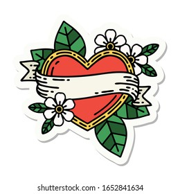 sticker of tattoo in traditional style of a heart and banner