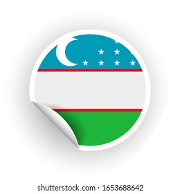 Sticker of Uzbekistan flag with peel off corner isolated on white background. Paper banner or circle curl label sticker with flip edge. color post note for advertising design.