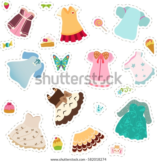 Stickers with cute girl dresses.