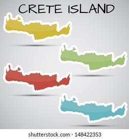 stickers in form of Crete Island, Greece