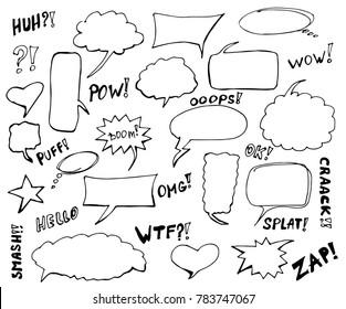 Stickers of speech bubbles set. Blank empty speech bubbles for infographics