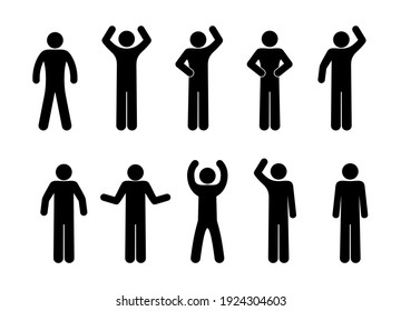 stickman icon, isolated pictogram stick figure man, various gestures with hands, human symbol on white background