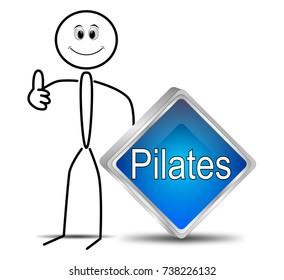 Stickman with Pilates button - 3D illustration