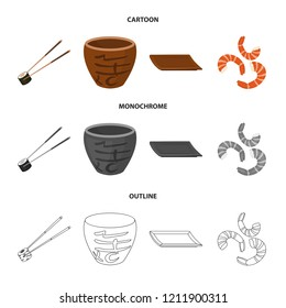 Sticks, shrimp, substrate, bowl.Sushi set collection icons in cartoon,outline,monochrome style bitmap symbol stock illustration web.