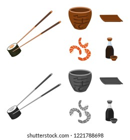Sticks, shrimp, substrate, bowl.Sushi set collection icons in cartoon,monochrome style bitmap symbol stock illustration web.