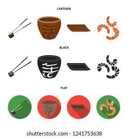 Sticks, shrimp, substrate, bowl.Sushi set collection icons in cartoon,black,flat style bitmap symbol stock illustration web.