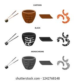 Sticks, shrimp, substrate, bowl.Sushi set collection icons in cartoon,black,monochrome style bitmap symbol stock illustration web.