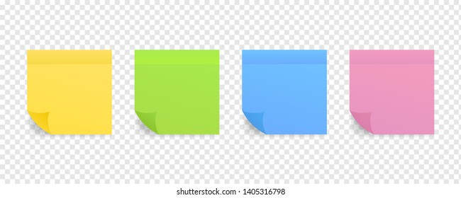 Sticky colored notes. Post note paper. stock illustration.