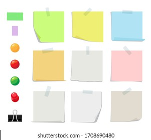 Sticky notes collection. Sticky paper sheets, color pins and tapes. Illustration of pin and colored blank paper for message office