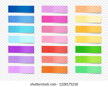 Sticky notes illustration of paper memo of different colors. Isolated realistic horizontal stickers of office reminders or bookmarks with shadows on transparent background