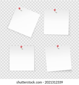 Sticky notes. Paper stick notes isolated on transparent background. Empty notebook page pinned red pushbutton.  paper with empty space