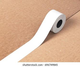 Sticky tape, scotch tape, adhesive tape, carton box 3d rendering