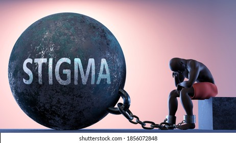 Stigma as a heavy weight in life - symbolized by a person in chains attached to a prisoner ball to show that Stigma can be a sorrow, brings suffering and it is a psychological burden, 3d illustration