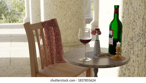 Stillleben als 3D-Illustration. Ein schöner Ort, um über ein Glas Wein zu reflektieren.