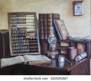 Still life with abacus, oil painting, oil lamp, old books