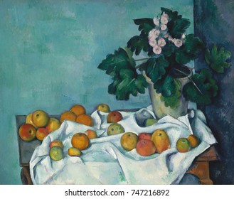 Still Life with Apples and a Pot of Primroses, by Paul Cezanne, 1890, French Post-Impressionism. Monet, the master Impressionist painter, once owned this painting