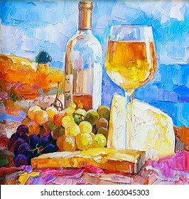 Wine Cheese Painting Hd Stock Images Shutterstock