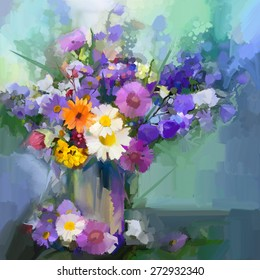 Still life a bouquet of flowers. Oil painting daisy flowers in vase. Hand Painted floral in soft color and blurred  style green color background